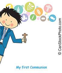 niño, comunión, primero