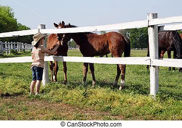 Niño con dos potros en la granja
