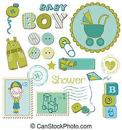 niño, conjunto, -, ducha, elementos, diseño, bebé, álbum de recortes