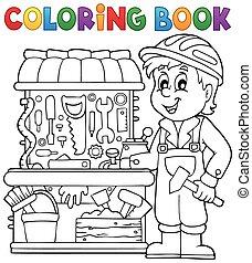 Niño de color en el libro jugando tema 2