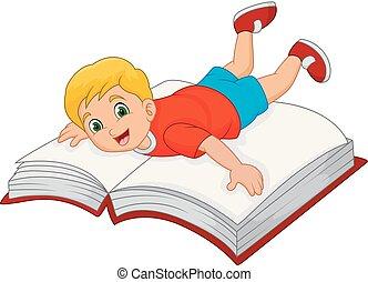 Niño de dibujos animados con un gran libro