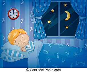 Niño de dibujos animados durmiendo