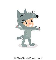 Niño de dibujos animados o niña disfrazada de lobo gris. Un mono de Halloween para la fiesta de los niños. Diseño de vectores planos aislados para pancarta, postal o pegatina