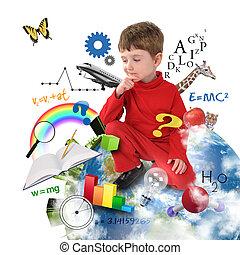 Niño de educación pensando en la Tierra