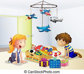 niño, dentro, juego, niña, casa