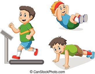 niño, deportes, colección, diferente