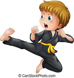 niño, el suyo, actuación, joven, karate, se mueve