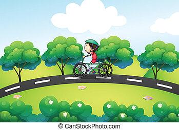 niño, el suyo, calle, bicicleta que cabalga