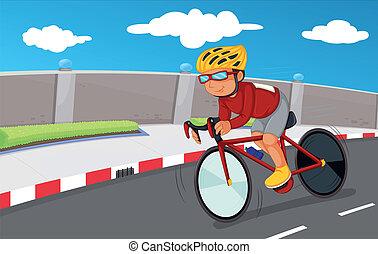 niño, el suyo, seguridad, engranajes, biking