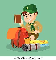 niño, embalaje, explorador