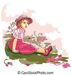 Niño en la pradera de las flores