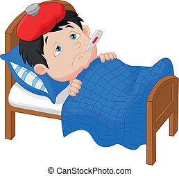 Niño enfermo en la cama