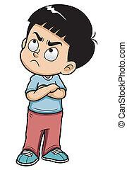 niño, enojado