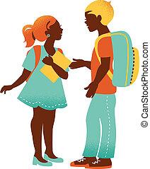 niño, escuela, vendimia, espalda, ilustración, girl., estudiante, silhouettes.