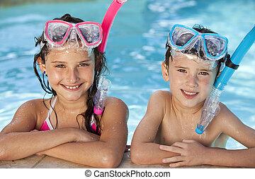 niño, esnórquel, gafas de protección, niña, piscina, natación