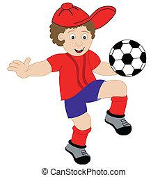 niño, fútbol, caricatura, juego