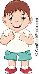 niño, feliz, caricatura