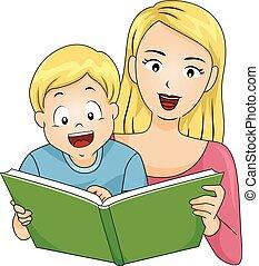 Niño feliz mamá lee libros