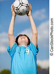 niño, futbol, bola catching