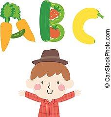 niño, granjero, ilustración, niño