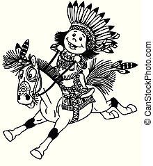 Niño indio de dibujos animados montando poni