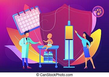 niño, infante, vacunación, vector, illustration., concepto