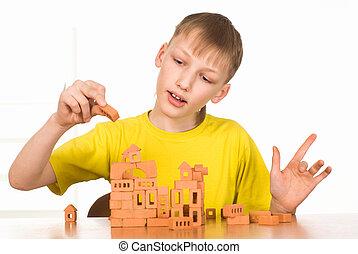 niño, joven, construir