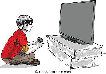 niño, juego, computadora, juego