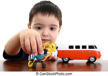niño, juego, niño, juguetes