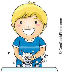 niño, lavar entrega