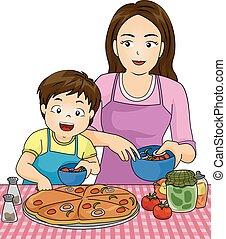 Niño mamá haciendo pizza juntos