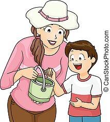 Niño mamá recoger cáscara