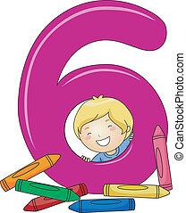 niño, número 6