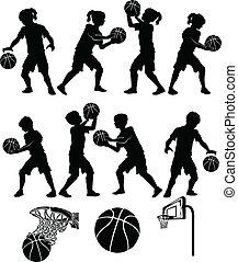 niño, niña, baloncesto, silueta, niño
