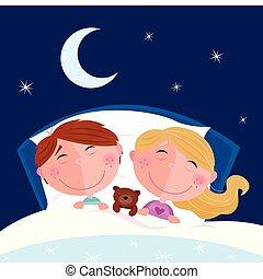 niño, niña, -, hermanos, sueño