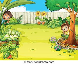 niño, niña, jardín, paliza