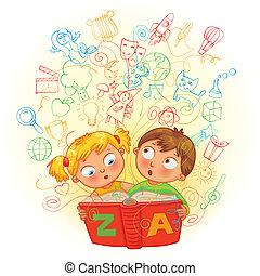 niño, niña, libro, magia, lectura