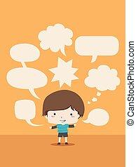 niño, niño, discurso, burbujas, ilustración