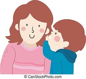 niño, niño, ilustración, mamá, susurro