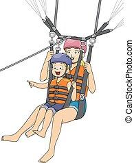 Niño niño mamá parasailing