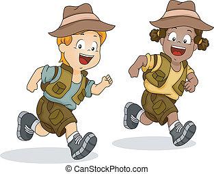 niño, niños, corriente, aventura, safari, niña