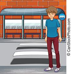 niño, parada, autobús