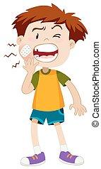 Niño pequeño con dolor de muelas