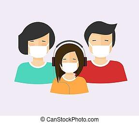 niño, plano, caricatura, medicina de familia, cara, llevó, máscara, imagen, máscaras, caracteres, grupo, gente, icono, diseño, respiradores, o, ilustración, vector, cirugía, médico, humano, moderno