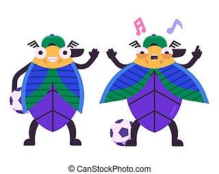niño, plano, escarabajo, carácter, futbolista