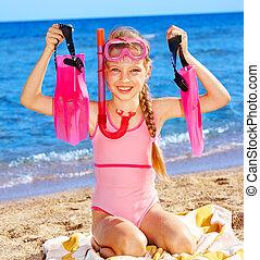 niño, playa., juego