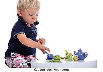 niño, poco, conjunto, té, juego, muñeca