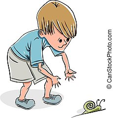 niño, poco, gracioso, snail.