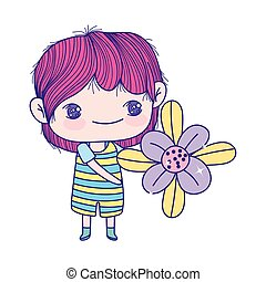niño, poco, hermoso, lindo, sostener la flor, caricatura