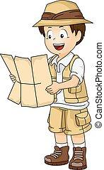 niño, poco, lleno, engranaje, ilustración, safari, lectura, estafar